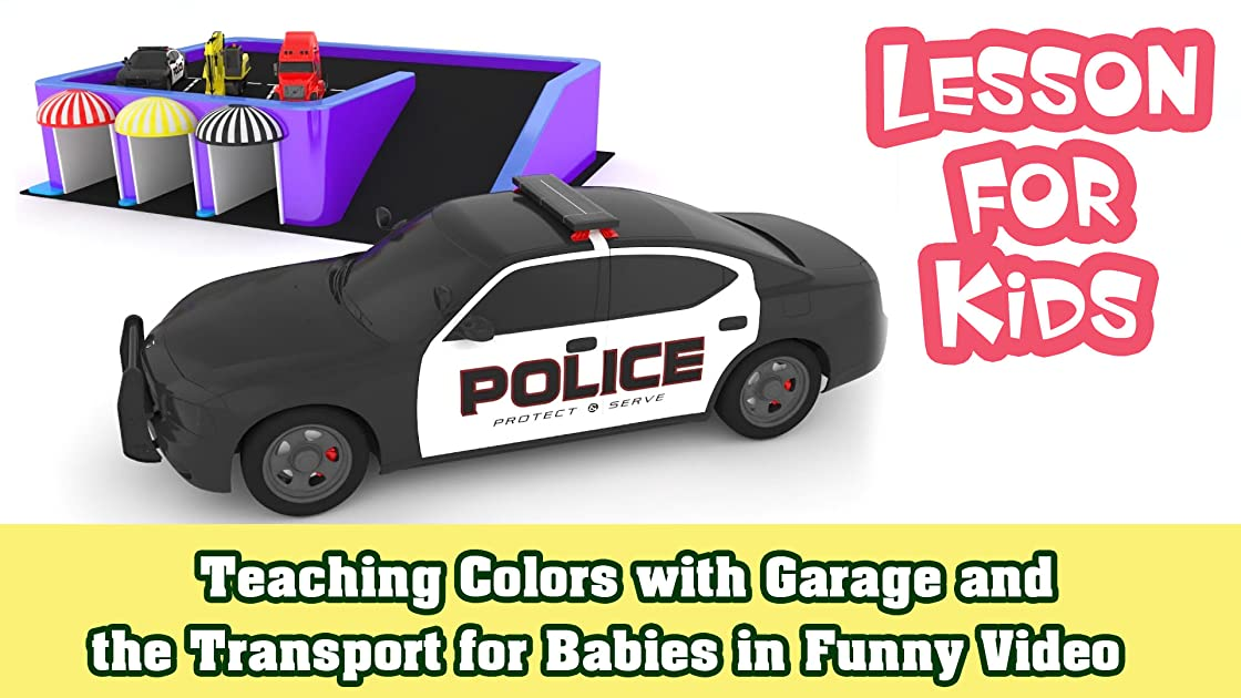 Teaching Colors with Garage and the Transport for Babies in Funny Video