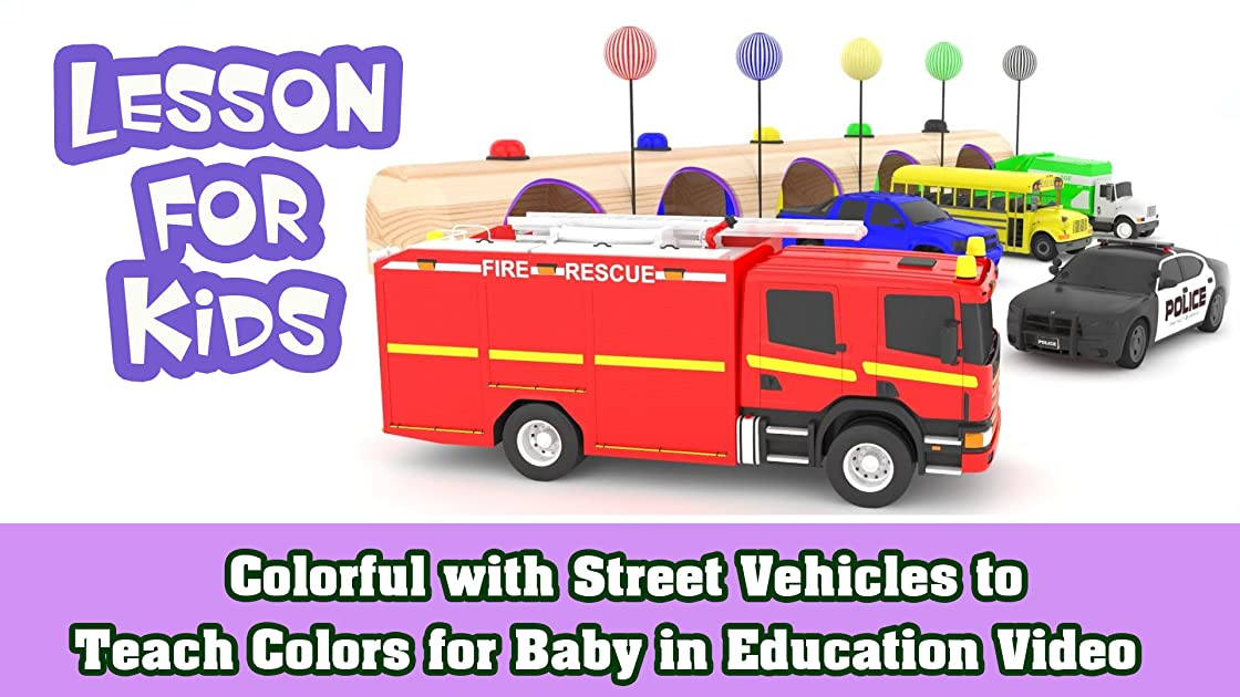 Colorful with Street Vehicles to Teach Colors for Baby in Education Video