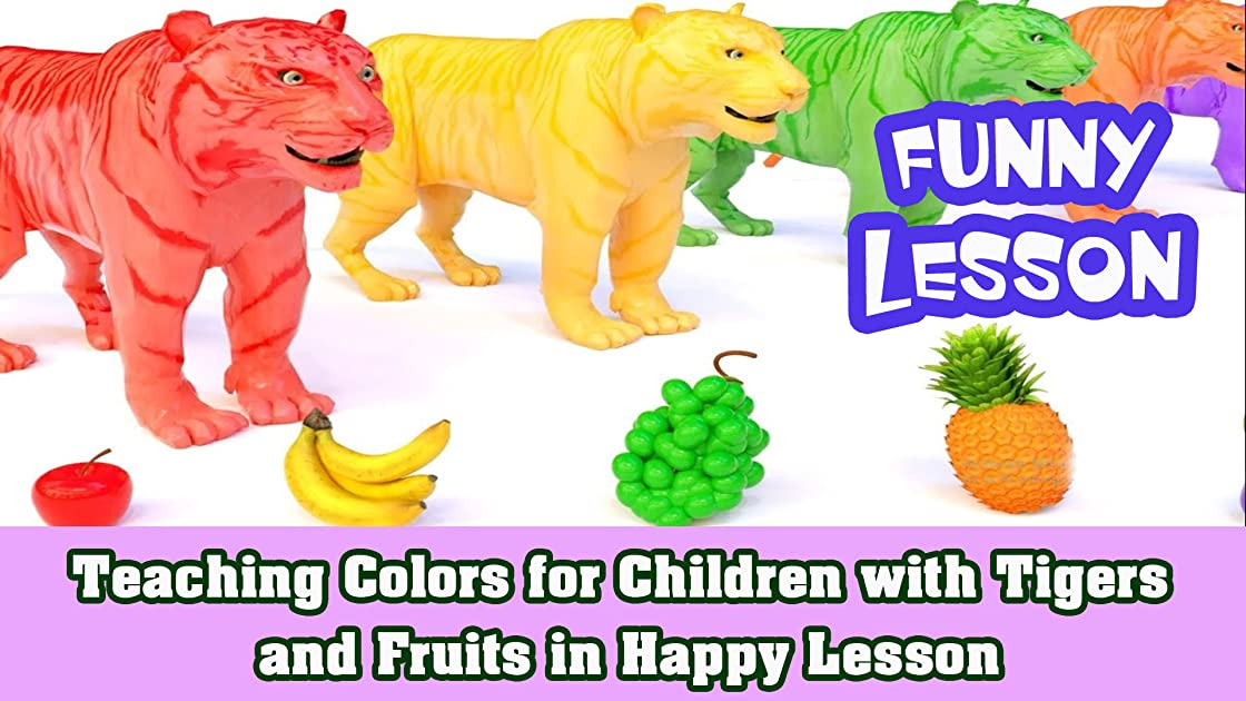 Teaching Colors for Children with Tigers and Fruits in Happy Lesson
