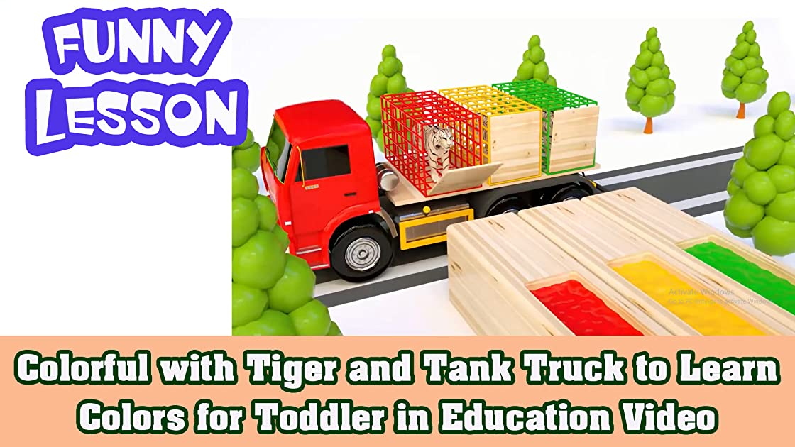 Colorful with Tiger and Tank Truck to Learn Colors for Toddler in Education Video