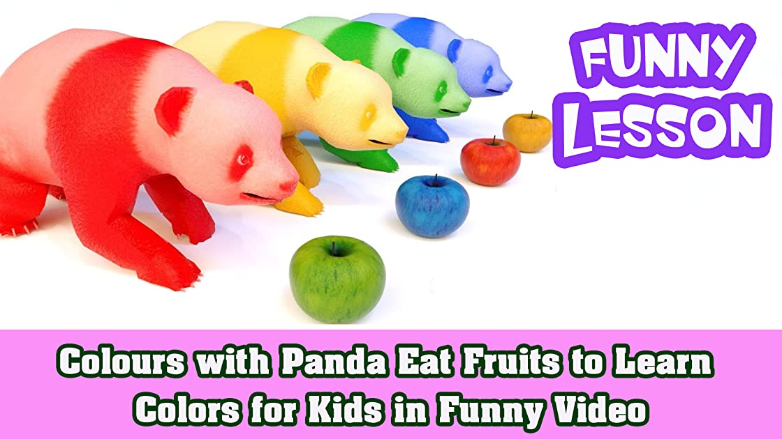 Colours with Panda Eat Fruits to Learn Colors for Kids in Funny Video