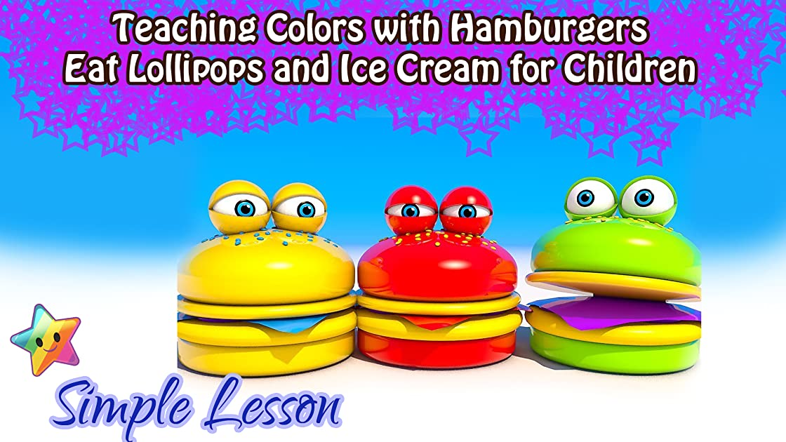 Teaching Colors with Hamburgers Eat Lollipops and Ice Cream for Children