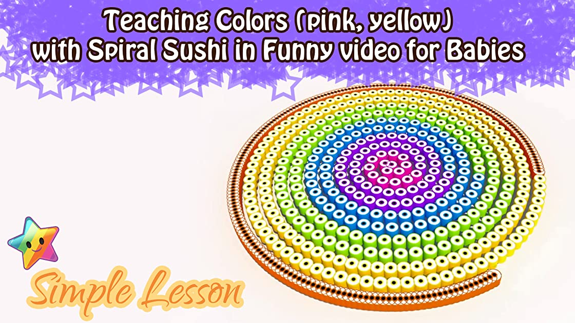 Teaching Colors (pink, yellow) with Spiral Sushi in Funny video for Babies on Amazon Prime Instant Video UK