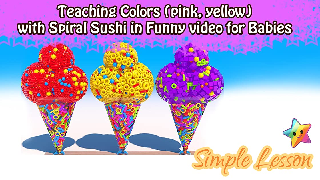 Teaching Colors (red, yellow) with Cone Ice Cream in Happy Class for Children on Amazon Prime Instant Video UK
