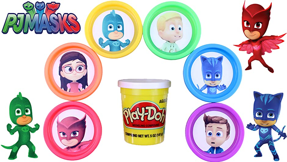 Amazon.com: LEARN COLORS With PJ Masks from Disney Jr Play Doh Surprises and Disney Tsum Tsum: Kathy, Jason, Awesome Toys TV