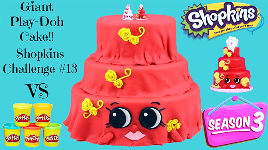 Amazon SEASON 3 SHOPKINS CHALLENGE 13 Giant Shopkins Play Doh Surprise Cake Toy Review Kathy Jason Awesome Toys TV