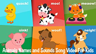 Animals Names and Sounds Song Video For Kids