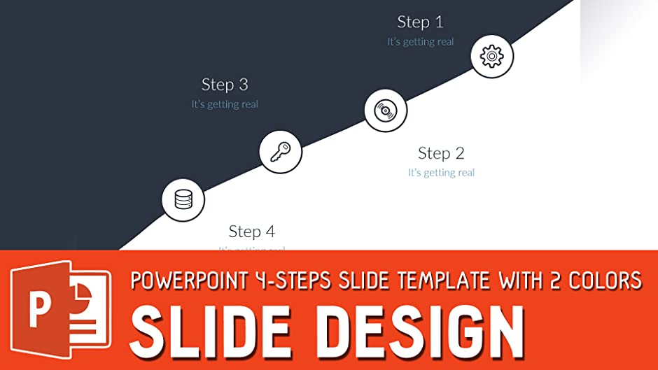 amazon com powerpoint 4 steps slide template with 2 colors slide