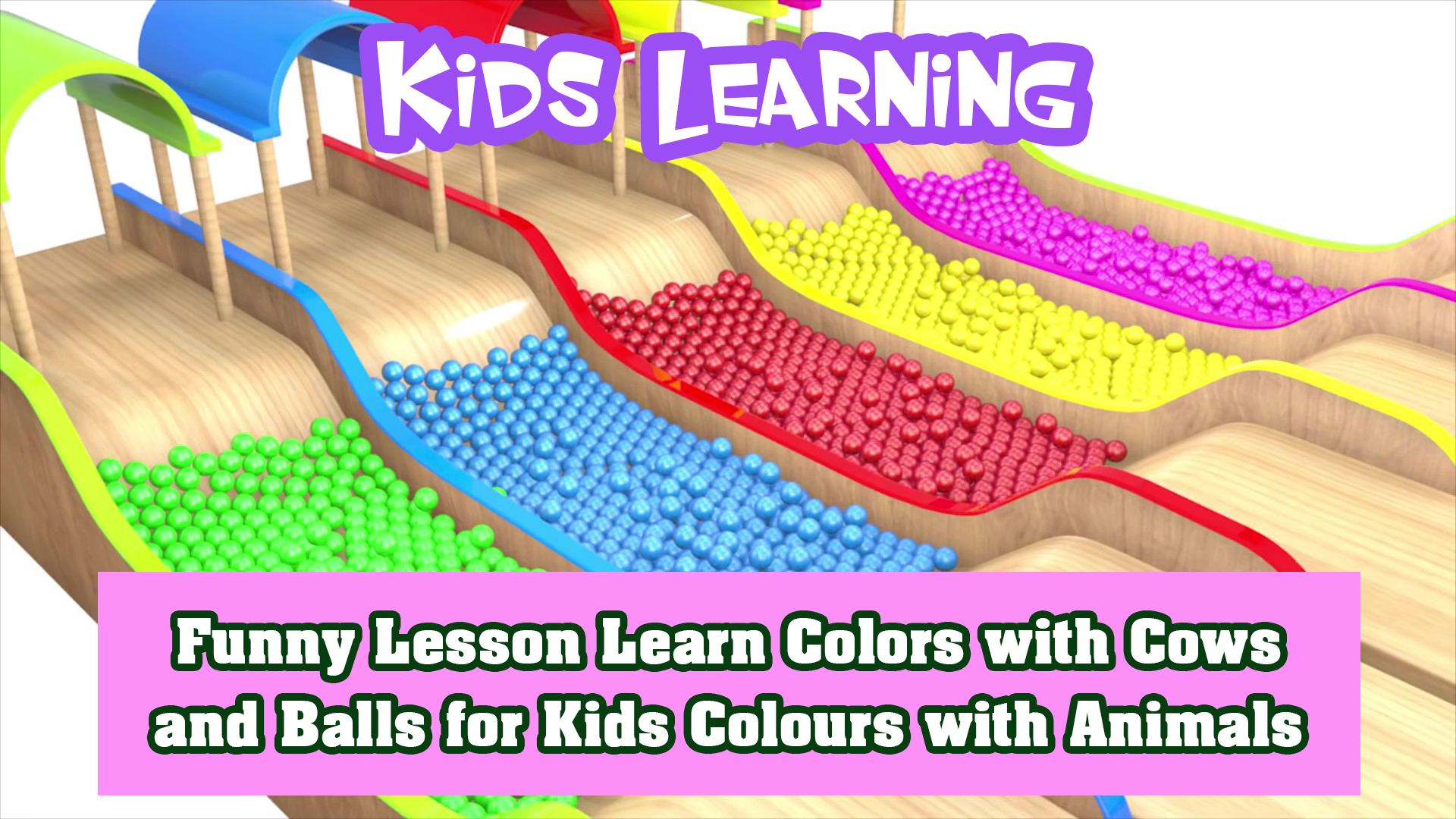 Funny Lesson Learn Colors with Cows and Balls for Kids Colours with Animals