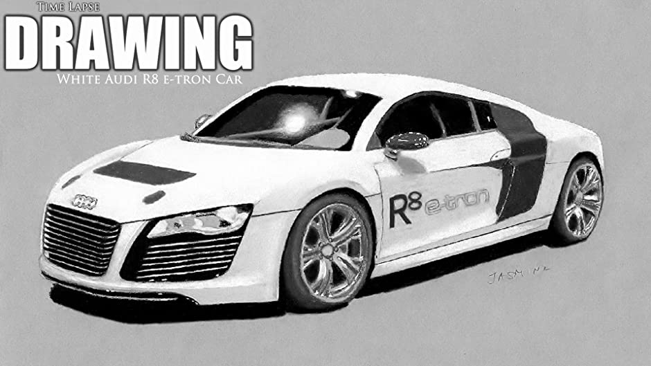 Amazoncom Clip Time Lapse Drawing White Audi R Etron Car - Audi car drawing